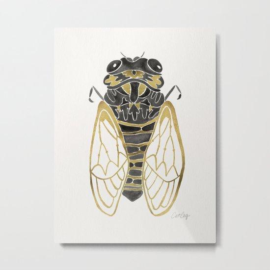 Cicada – Black & Gold Metal Print