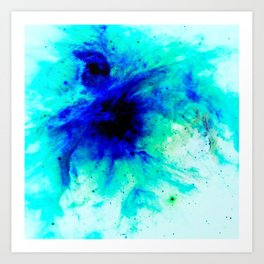Orion Nebula Bright Blue Aqua Art Print
