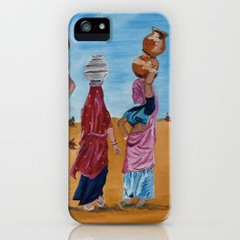 Indian women chit chatting and gossiping while crossing a desert to fetch some water by Abha iPhone Case
