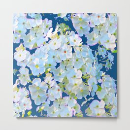 DELICATE TEAL & WHITE LACE FLORAL GARDEN Metal Print