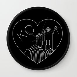 Kansas City - Minimalist Skyline Heart Reversed Wall Clock