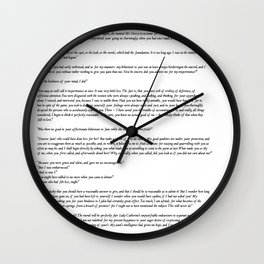 Pride and Prejudice Jane Austen white background Wall Clock