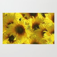 sunflowers Area & Throw Rugs featuring Sunflowers by LLL Creations