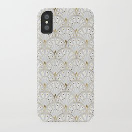 marble and gold art deco scales pattern iPhone Case