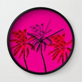 Neon Palms Wall Clock
