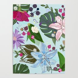 Lily, Rose and Bud. Vibrant Pattern Poster