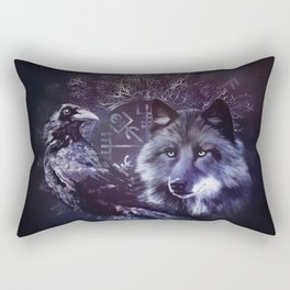 Raven and Wolf - Vegvisir and Tree of life Rectangular Pillow