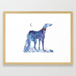 The Saluki And The Frog Framed Art Print