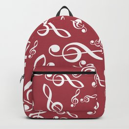 Treble Clef Pattern - Red BG Backpack