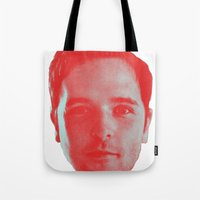 chad wys Tote Bags featuring Chad Head by Blake Makes Tees