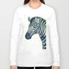 Zebra Watercolor Blue Green Animal Long Sleeve T-shirt