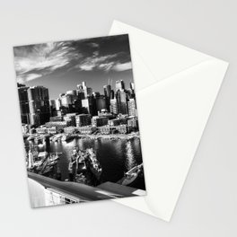 Sydney City and Barangaroo View from Darling Harbour in Black and White Stationery Cards