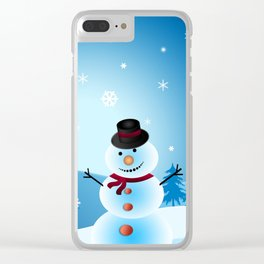 Christmas Snowman Clear iPhone Case