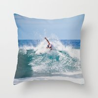 surfer Throw Pillows featuring Surfer by Carmen Moreno Photography