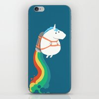 kids iPhone & iPod Skins featuring Fat Unicorn on Rainbow Jetpack by Picomodi