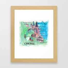 Chicago Favorite Map with touristic Top Ten Highlights in Colorful Retro Style Framed Art Print
