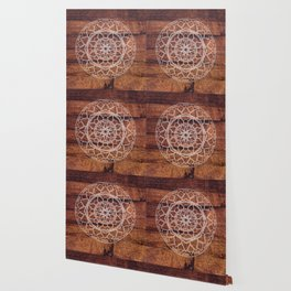 Rustic Wooden Mandala Wallpaper