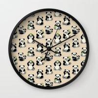 pandas Wall Clocks featuring Pandas by Olya Yang