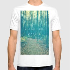 Wander in the Woods MEDIUM White Mens Fitted Tee