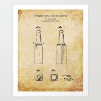 Patent Design for a Beer Bottle Art Print