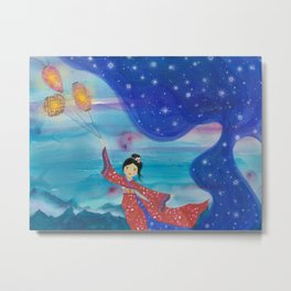Japanese Geisha in Kimono with Flying Lanterns in the Sky Metal Print