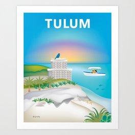Tulum, Mexico - Skyline Illustration by Loose Petals Art Print