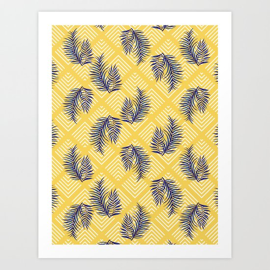 Geometries & Blue Palms #society6 #decor #buyart Art Print