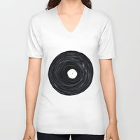 vinyl V-neck T-shirts featuring Vinyl by Stacy Innerst