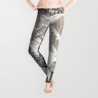 pen Leggings featuring BEYOND MOUNT SHUKSAN BLACK AND WHITE VINTAGE PEN DRAWING by Alpine Seaside Landscapes