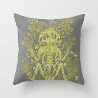 skeleton Throw Pillows featuring Skeleton by Thom Deer