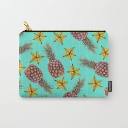 Starfruits - Pineapple pattern - turquoise background Carry-All Pouch