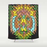 king Shower Curtains featuring King by M. Noelle Studios