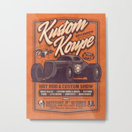 Vintage Style Fictional Halloween Hot Rod Show - Orange Metal Print