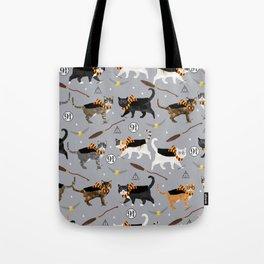 Cat wizard cats wizard school pattern Tote Bag