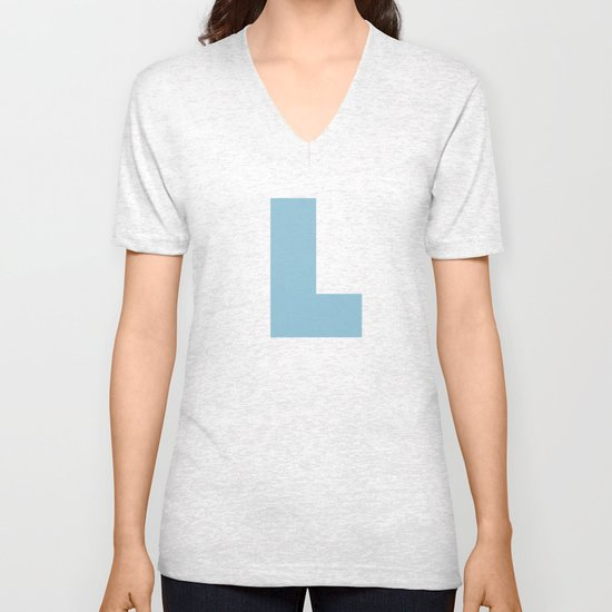 Light Blue L Unisex V-Neck