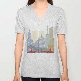 Chicago skyline poster Unisex V-Neck