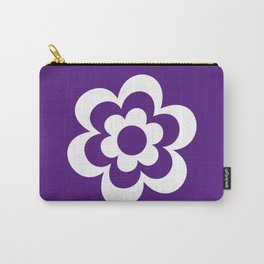 Purple And White Flower Carry-All Pouch