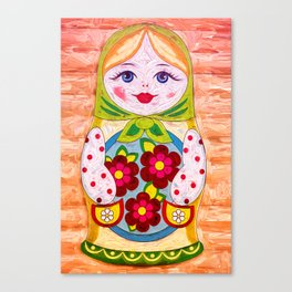Russian Matryoshka Nesting Doll in Colour Canvas Print