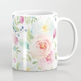 Blush pink watercolor elegant roses floral Coffee Mug