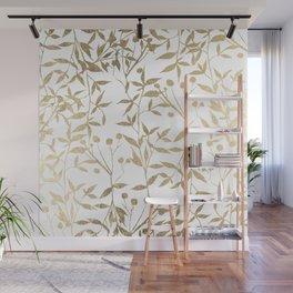 Modern elegant white gold foil foliage berries Wall Mural