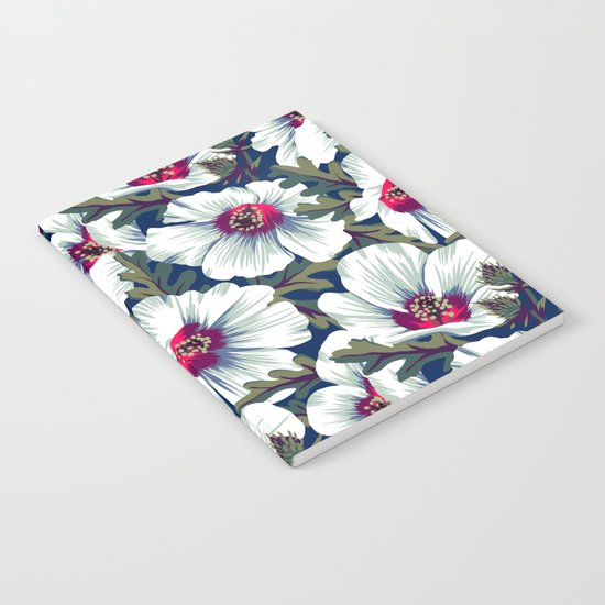 New Zealand Hibiscus Floral Print (Night) Notebook