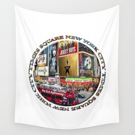 Times Square New York City (badge emblem on white) Wall Tapestry