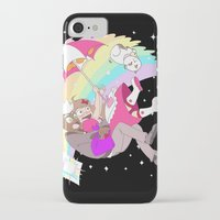 bee and puppycat iPhone & iPod Cases featuring Puppycat Rainbow Fall by Beta PV