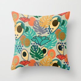 Monstera, fruits and flowers Throw Pillow