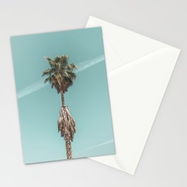 Malibu Beach Palm // California Beach Vibes Teal Ocean Sky Jetstream Photograph Stationery Cards