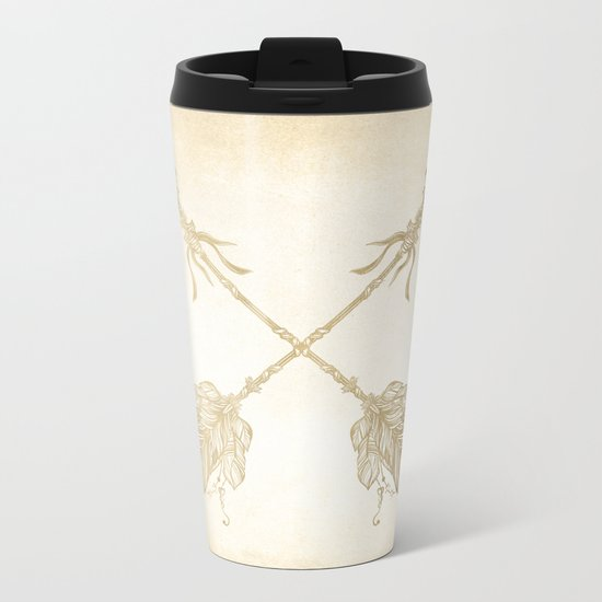 Tribal Arrows Gold on Paper Metal Travel Mug