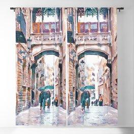 Carrer del Bisbe - Barcelona Blackout Curtain