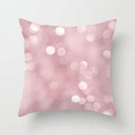 Rose Gold Blush Bokeh #1 #shiny #decor #art #society6 Throw Pillow