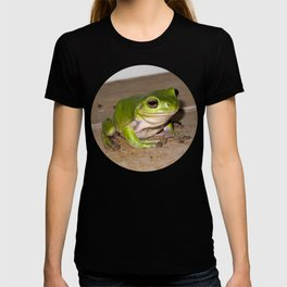 A beautiful green tree frog sitting on tiles T-shirt