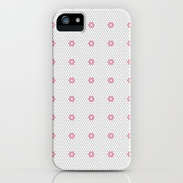 Pink Flower Hexagon Tile Pattern iPhone Case